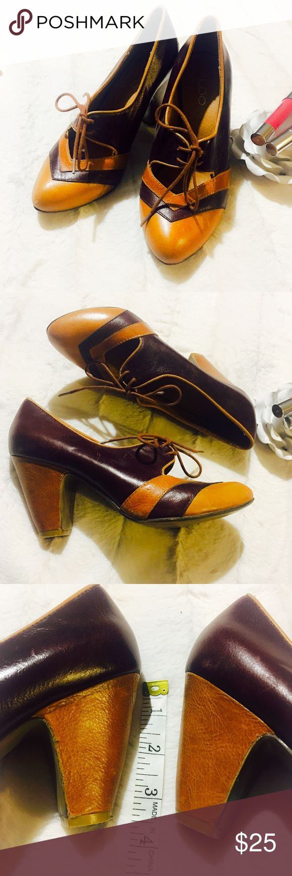 Aldo Two Tone Heels Super cute and fun two toned Lace up heels. Some minor scuffs on leather and heels but nothing major and are in overall great condition! Beautiful brown and caramel colored. Aldo Shoes Heels
