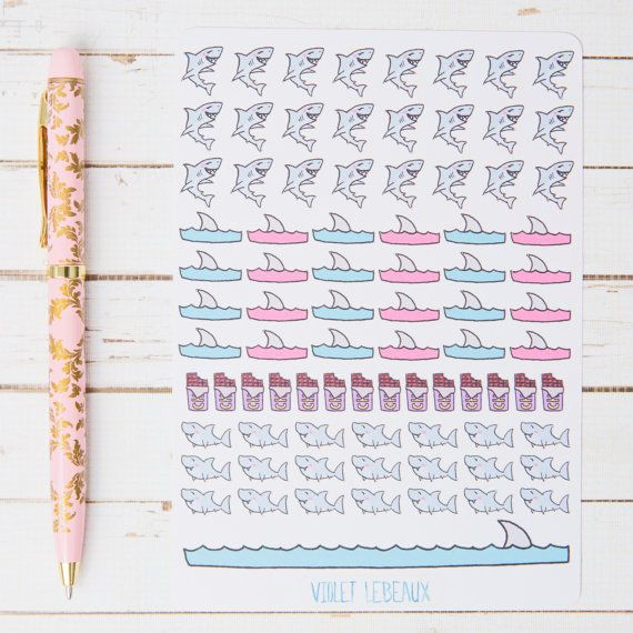 Decorate your planner journal or other items with these adorable shark stickers. For tracking periods with a good sense of humour ;)  Please note