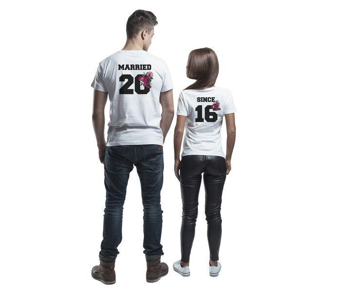 T-shirt dla par biały małżeństwo związek data róże - MoodyMood - Koszulki z nadrukiem