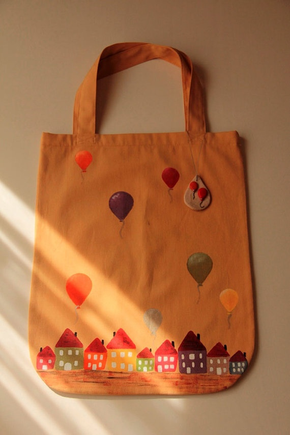 Hand Painted Tote Bag by zeyc on Etsy