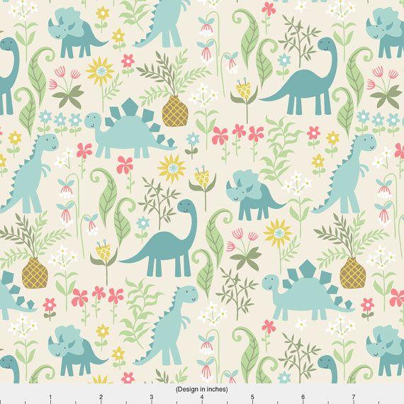 Dinosaur Fabric  Dino Garden By Laura May  Dinosaur by Spoonflower