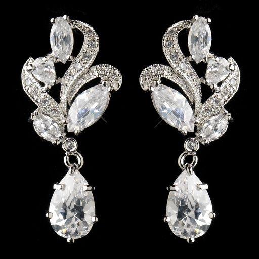 Antique Silver Rhodium Clear CZ Crystal Drop Earrings $58.00