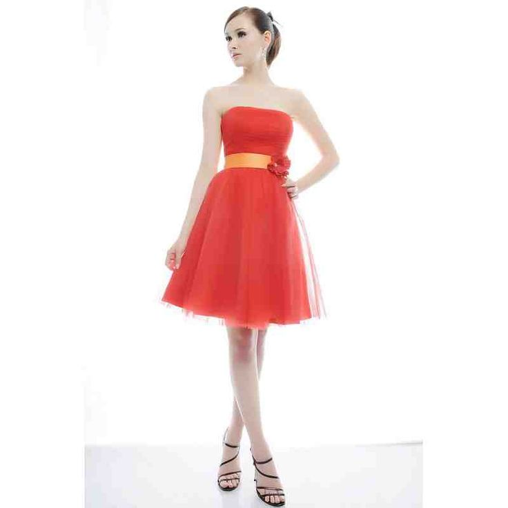 Strapless Coral Bridesmaid Dress