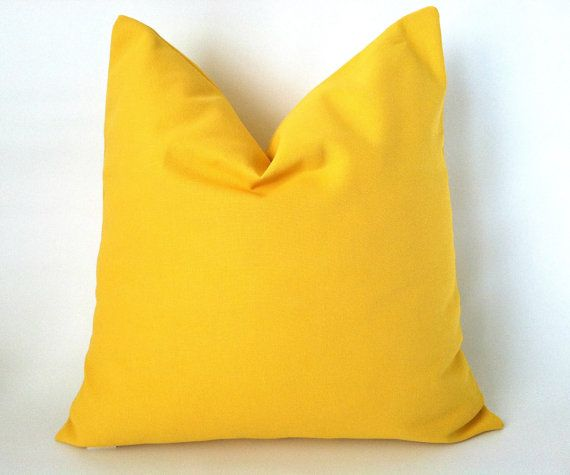 Sunny Yellow Accent Pillows! Solid Yellow Pillow Cover   20 x 20 One Yellow by PillowStyles, $19.00
