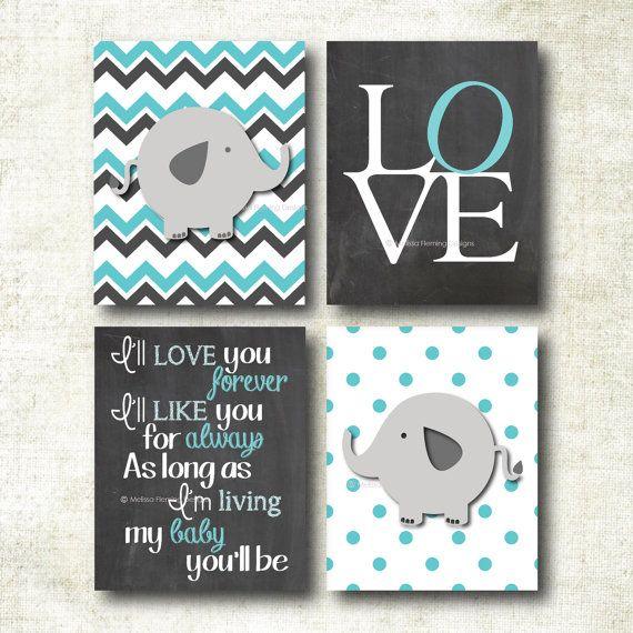 Set of four baby girl art prints, nursery decor, I'll love you