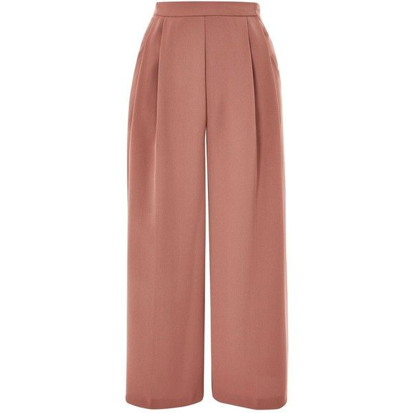 TopShop Crop Wide Leg Trousers ($55) ❤ liked on Polyvore featuring pants, capris, topshop, trousers, dark blush, cropped capri pants, cropped pants, cropped trousers, embroidered pants and topshop pants