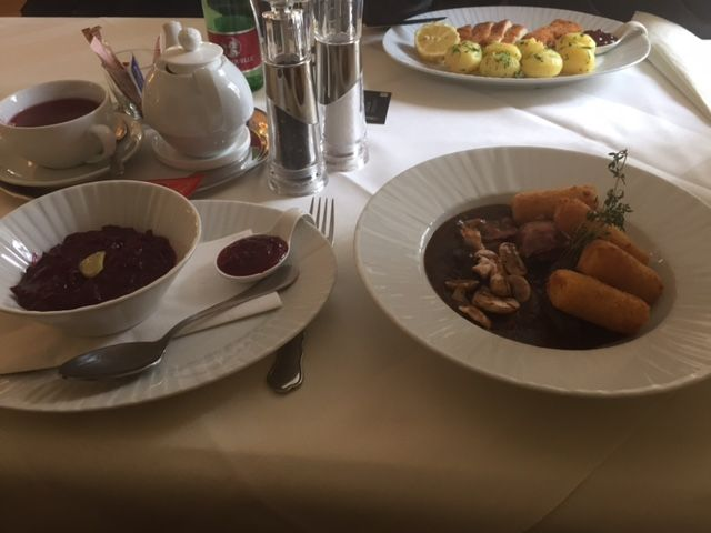 Wild stew with red cabbage and home made croquette. The best red cabbage and croquette I've ever eaten. This is in Klagenfurt, Austria: Schloß Mageregg
