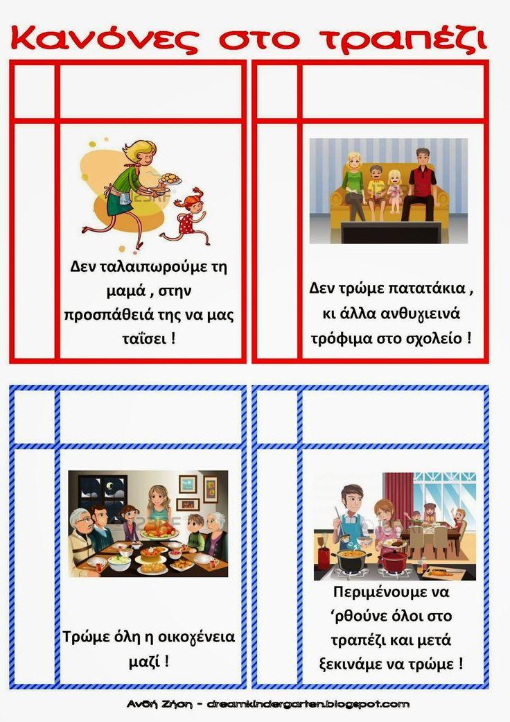 Ζήση Ανθή : Κανόνες για το νηπιαγωγείο ... αλλά και το σπίτι !    Καλές συνήθειες στο τραπέζι                        Τι πρέπει να κάνουμε ...