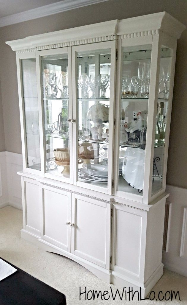 China Cabinet Painted White For French Country Dining Room