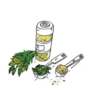 How to substitute dried herbs for fresh herbs in a recipe.