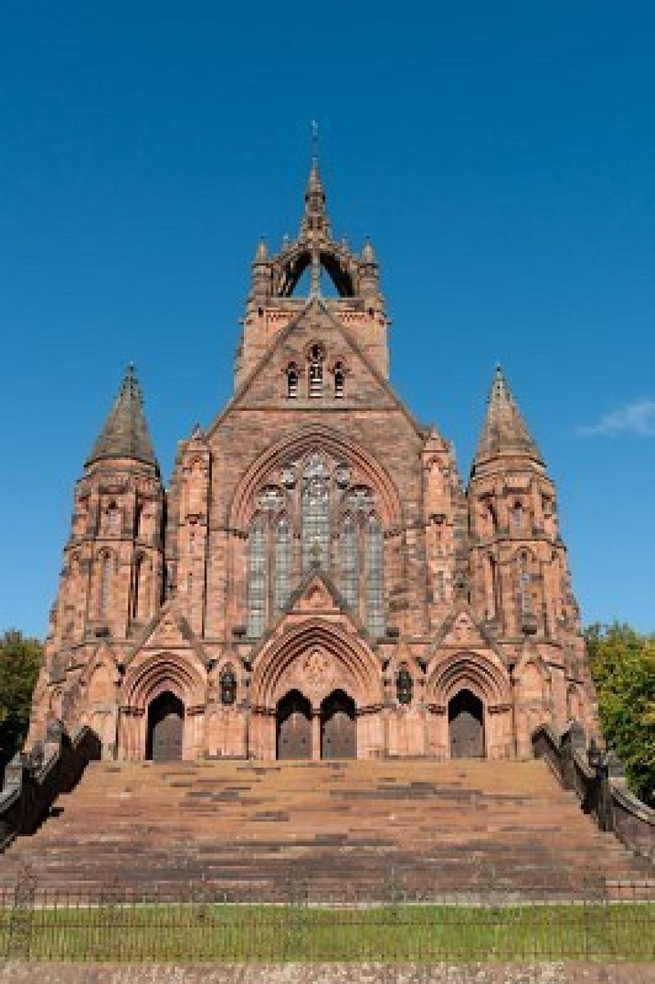 Thomas Coats Memorial Church in Paisley, Scotland. This red sandstone church was funded by a textile industrialist whose mills dominated the town. Generations of stonemasons served their apprenticeships on its construction.