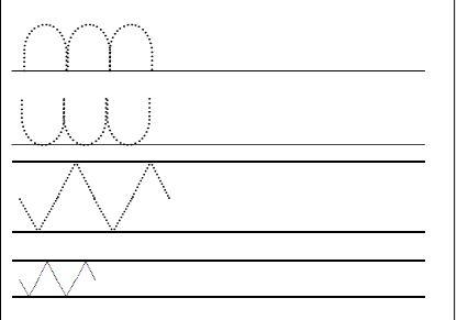 Calligraphie ou préparation à l'écriture cursive : pont, cuve et zigzag