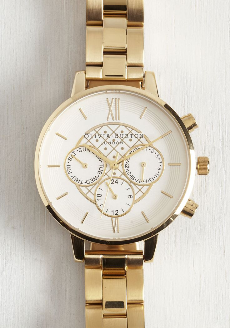 Information Age Watch. Fuse contemporary finesse with classic style by staying in the know with this golden watch. #gold #modcloth