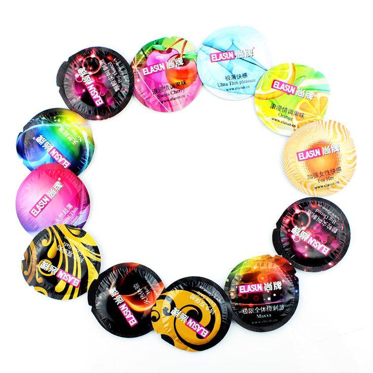 ELASUN 50 Unidades Lubricado Condones ultrafinos de Alta Calidad para Los Hombres Masculinos condón 8 Tipos de Sabor Juguetes Sexuales para Hombres y parejas
