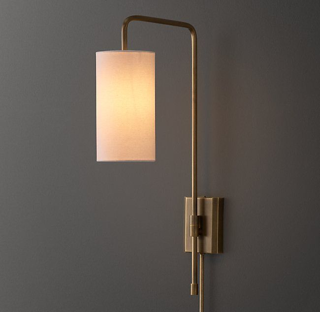 Clementine Swing Arm Sconce With Shade Antiqued Brass Sconces
