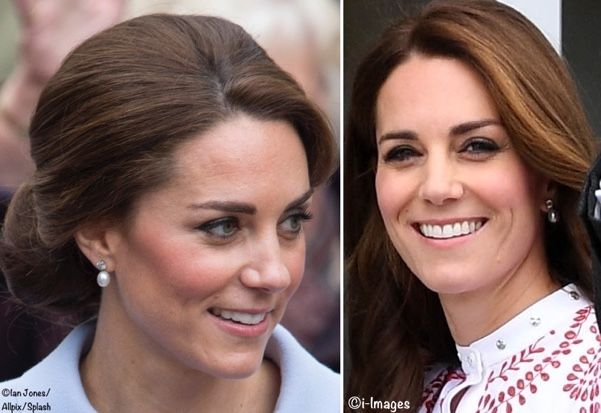 Earrings loaned to Kate by the Queen. Most recently worn in October when Kate visited the Netherlands (L); the pearls were first noted in September when the Duke and Duchess spent a day in Vancouver during the Canada tour (R).