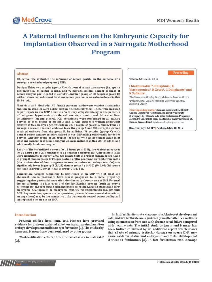 A Paternal Influence on the #Embryonic Capacity for #Implantation Observed in a #Surrogate #Motherhood Program