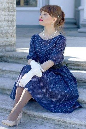 Фото платье из перкаля синий горошек