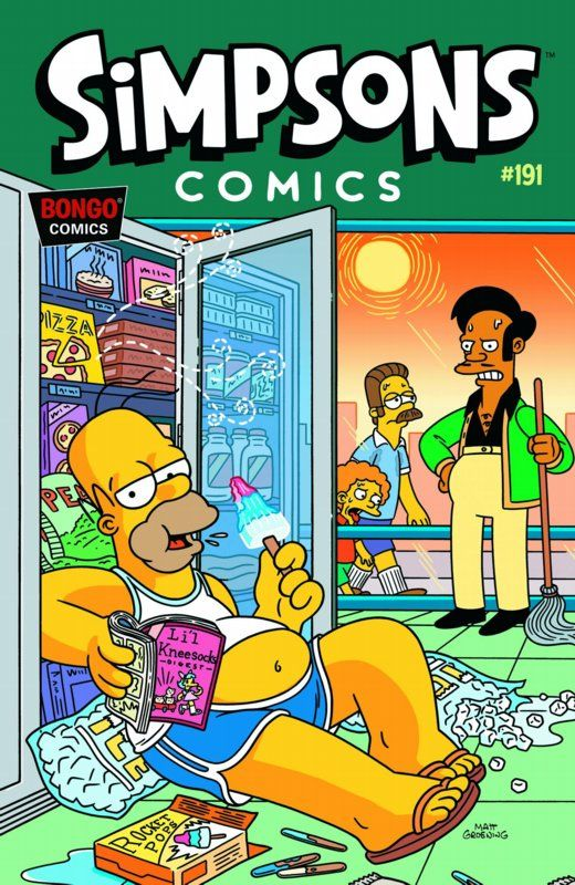 During summer, Homer wearing an vest and hot pants, reading an magazine and tries to keep cool. Apu look at him in anger.