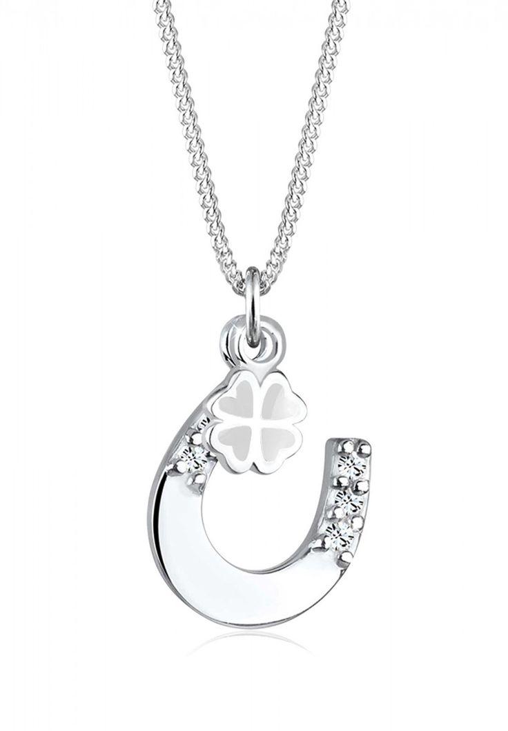 Elli Halskette Hufeisen Kleeblatt Swarovski® Kristall 925 Silber