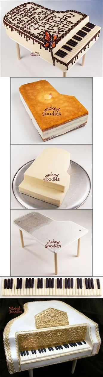 Piano Cake Construction Tutorial by Wicked Goodies #music #piano love the design and the Michael Jackson lyrics on the piano.