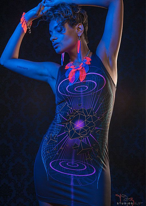 Hologram Dress D66 by Public Beta Wear  Futuristic vision glows in blacklight. Blacklight reactive digital print on clothing. Fluid, first class garment.  Clothing: Public Beta Wear, Accessories: Electric Candy Couture, Photography: Ted Zav Studio NY