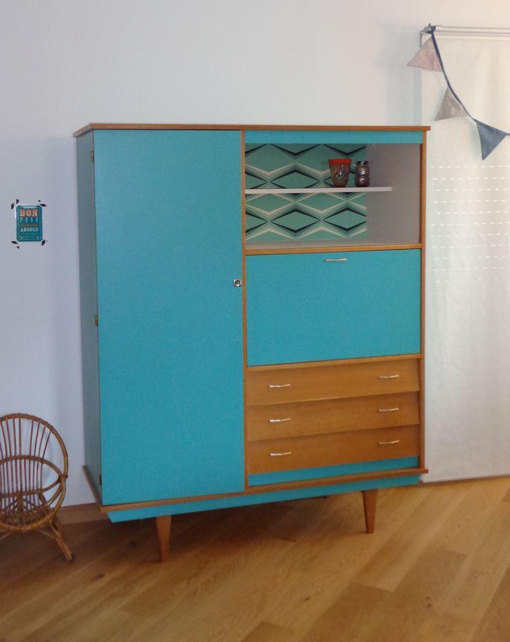 Armoire secr taire vintage gabriel meubles vintages for Ameublement retro