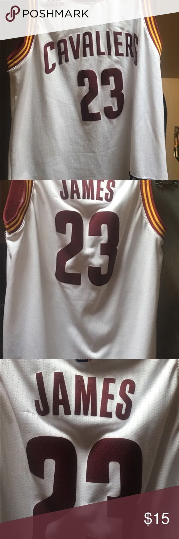 LeBron James jersey Super cute Lebron James 23 jersey. My son never wore. There is a small snag on the back. (See photo). White with maroon lettering and trim.  Size boys medium 10-12 adidas Shirts & Tops