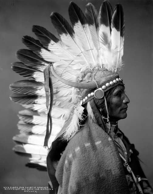 Profile studio portrait, head and shoulders, of Elote, Sub-chief of the Apache Native American tribe, ca. 1900