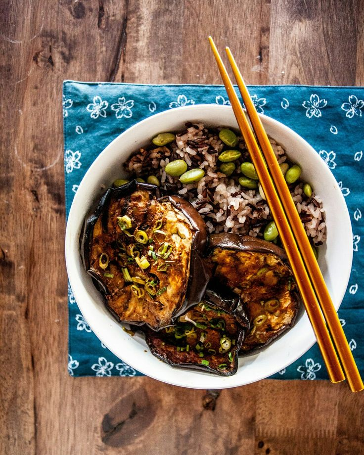 Miso eggplant with brown rice and edamame