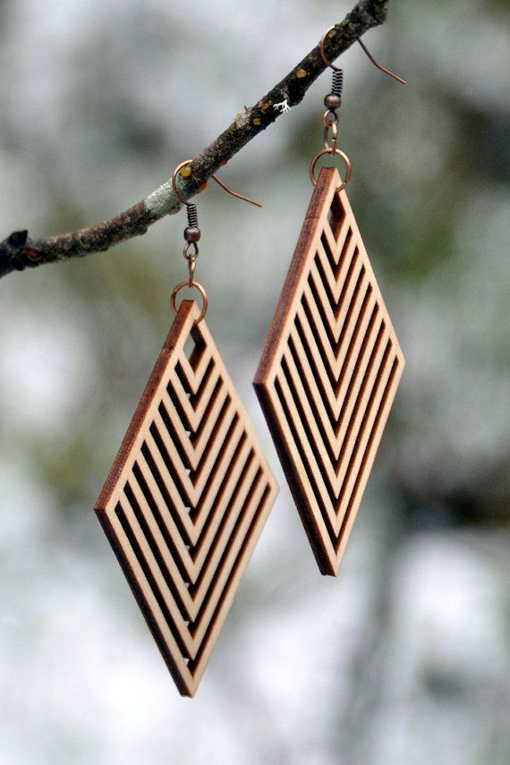 Rhombus Laser Cut Wood Earrings by MoodWoodShop on Etsy                                                                                                                                                      Mais