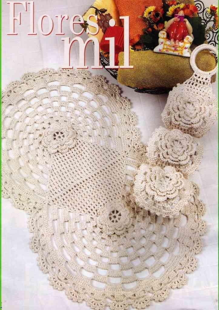 129 best jogo de banheiro em croche images on pinterest for Tapetes de crochet