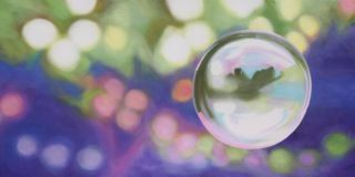 Rachelle Kearns - Bubbly Series - More than Pretty Poetry by Rachelle Kearns 48x24 $2350 #bubble #painting #light