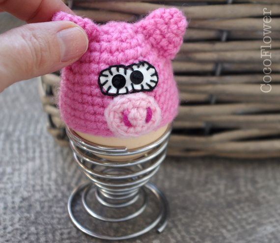 Egg cozy cover hat pink pig crochet amigurumi