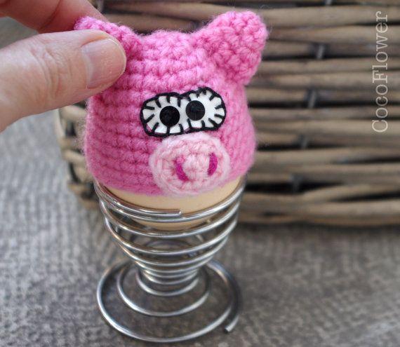 Egg cozy cover hat pink pig crochet amigurumi