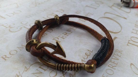 Free, Adjustable, Anchor Bracelet, Fish Hook Bracelet, Leather Bracelet, Mens Jewerly, Nautical Bracelet