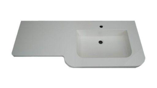 Umywalka szerokość 125 cm prawa biała