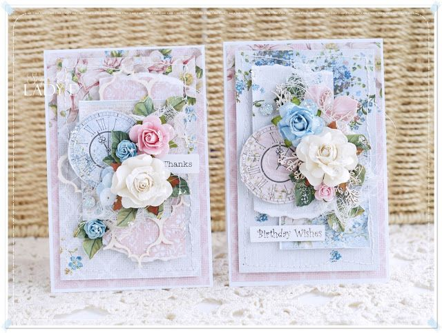 Amazing and elegant cards made with Studio 75 Alice's dreams papers collection. Layered and full of flowers and embelishments. cardmaking