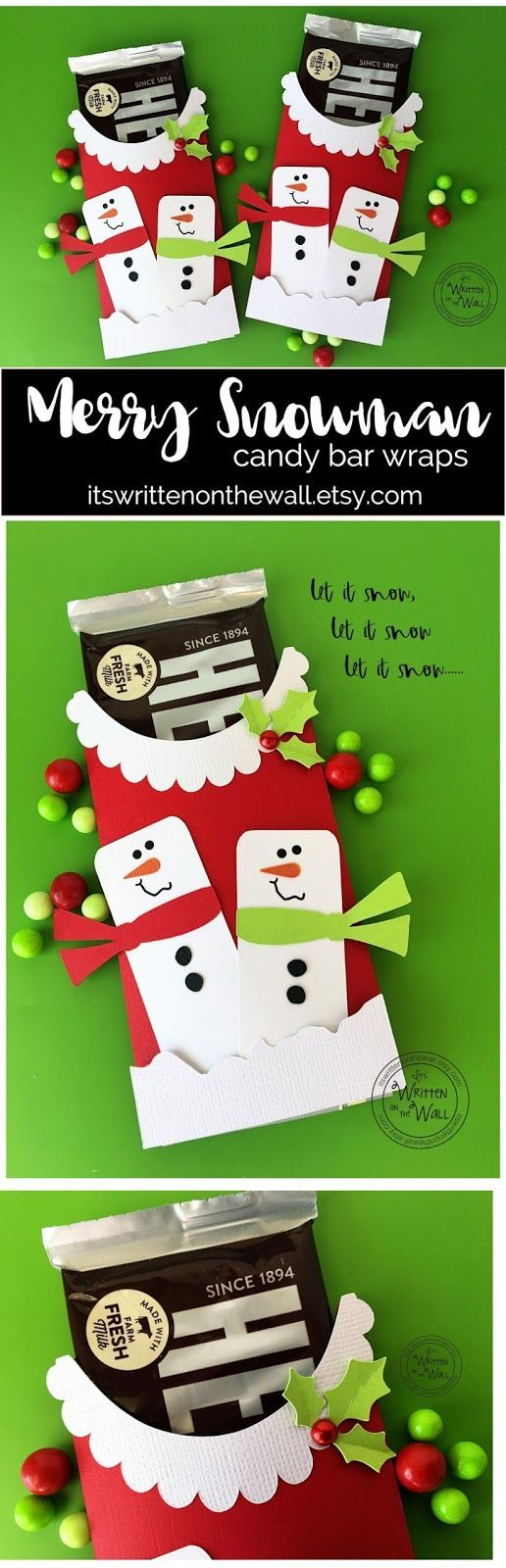 Merry Snowman Candy Bar Wrappers-Stocking Stuffers-Gifts for Co-Workers, Employees, Teacher and more
