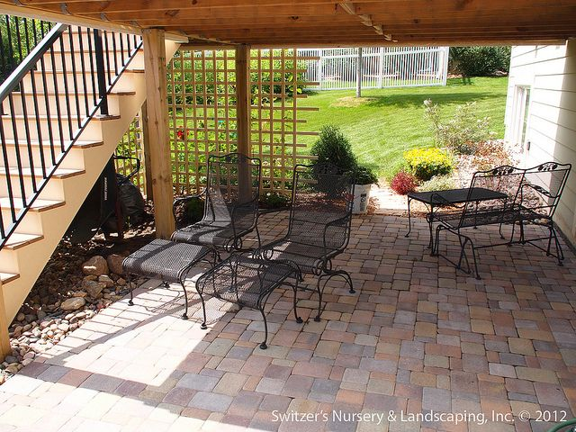 Paver Patio under Deck with Retaining Wall & Steps - Minnesota Landscaping Ideas by Switzer's Nursery & Landscaping, via Flickr