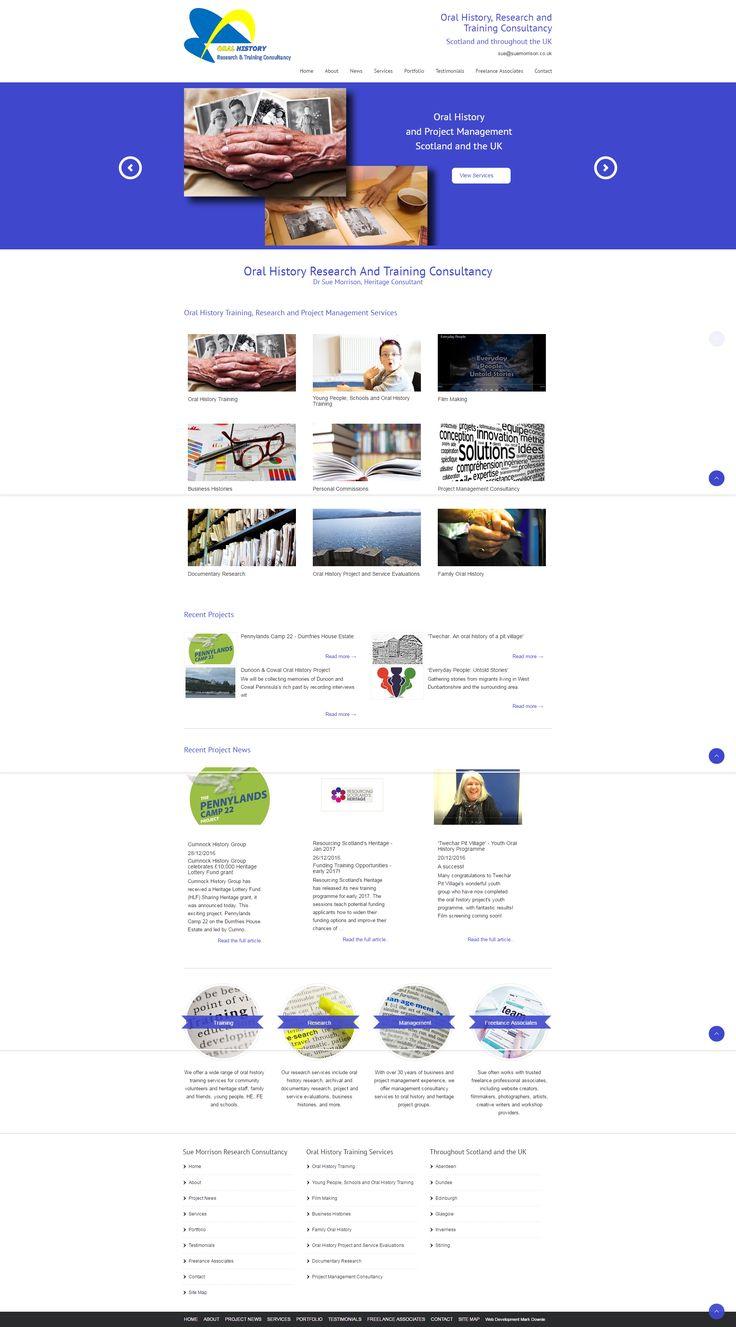 Website design for Sue Morrison, Oral History Research East Kilbride, Glasgow.