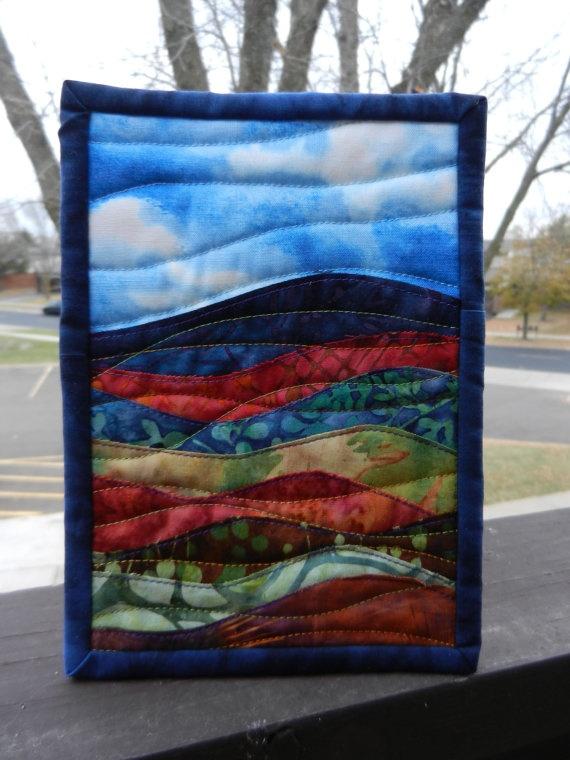 Batik Landscape Art Quilt, Mini Landscape 5 x 7