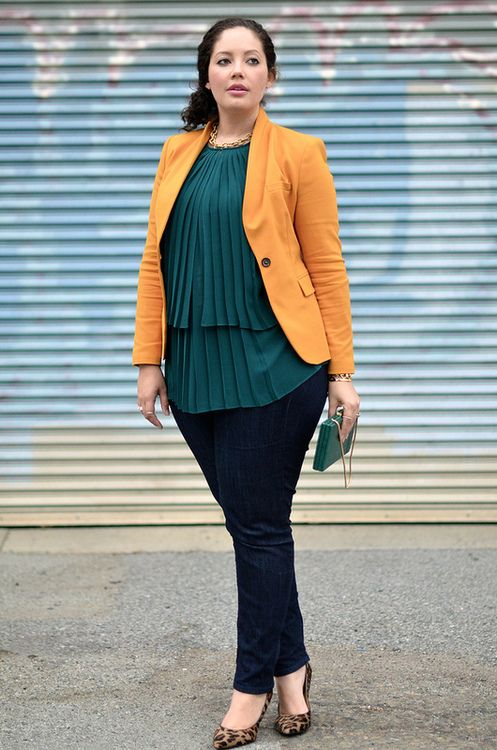 Mustard, Emerald & Leopard  Style Advisory says:   This look can work for several body types: top heavy, more in the middle and pear shape. The blazer adds nice balance to the fluid top and the skinny jean balances the volume up top.