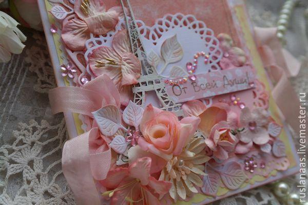 """Купить Открытка большая """"Париж в душе""""ручной работы - коралловый, купить открытку, купить открытку свадебную"""