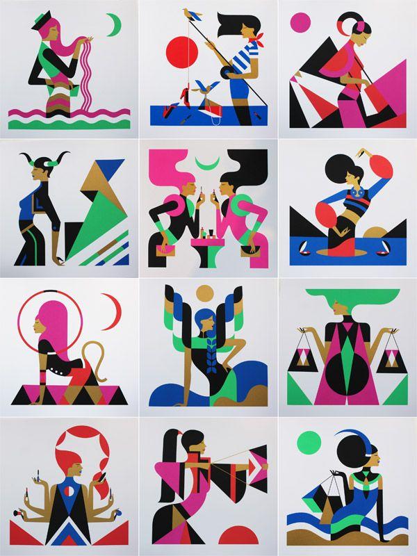 The Zodiac Series by illustrator Malika Favre. The series includes 12 zodiac signs (Aries, Taurus, Gemini, Cancer, Leo, Virgo, Libra, Scorpio, Sagittarius, Capricorn, Aquarius, Pisces). Each artwork was printed as 4 color screenprint limited to 20 pieces. All pieces are signed and numbered by Malika Favre. http://weandthecolor.com/zodiac-series-malika-favre/38545?scid=social_20140522_24465084
