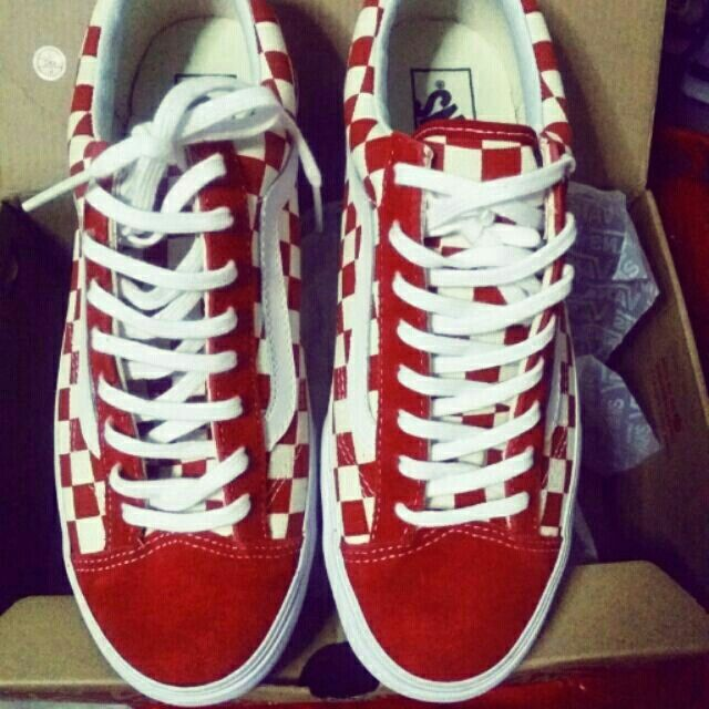 Buy Red Checkered Vans On Feet 50 Off