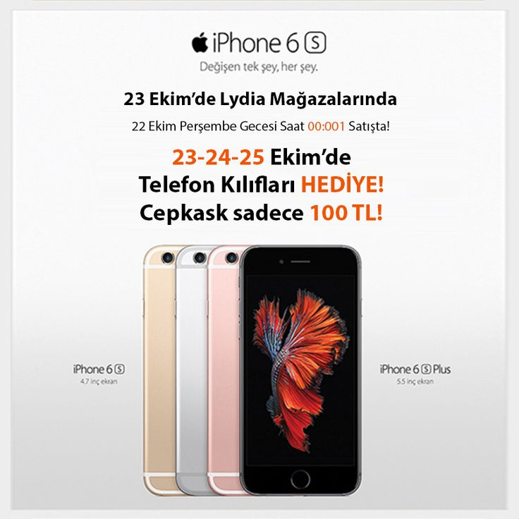 6s/6s Plus 23 Ekim'de #MaltepePark Lydia Mağazası'nda.  23-24-25 Ekim'de 6s/6s Plus alanlara telefon kılıfları hediye!