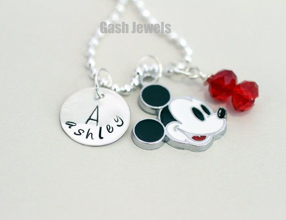 Mickey Mouse hand stamped necklace