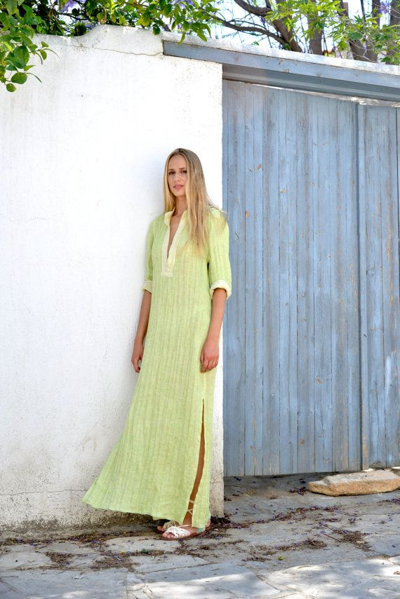 Lime women's shirtdress. Fluffy wrinkled maxi tunic. by YUMEworld