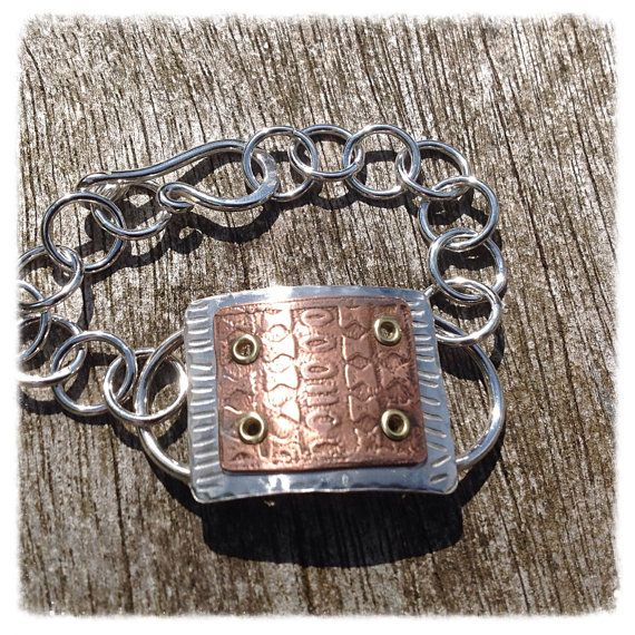 Sterling silver and copper bracelet  mixed metal by HENjewellery, €64.00
